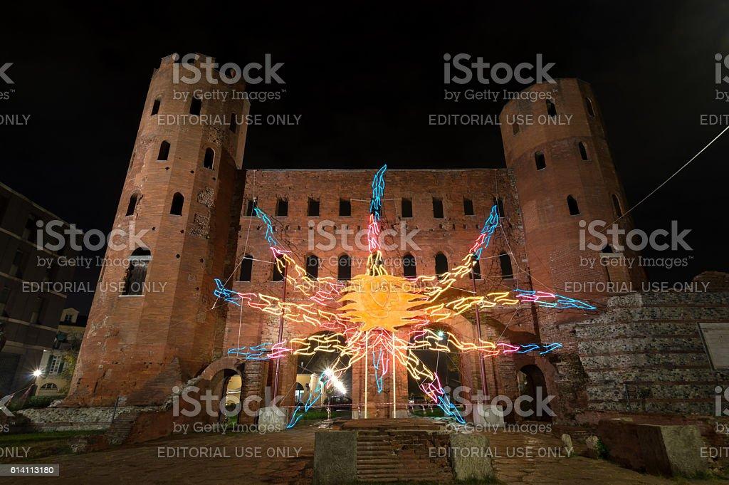 Palatine Towers illuminated at night in Turin, Italy stock photo