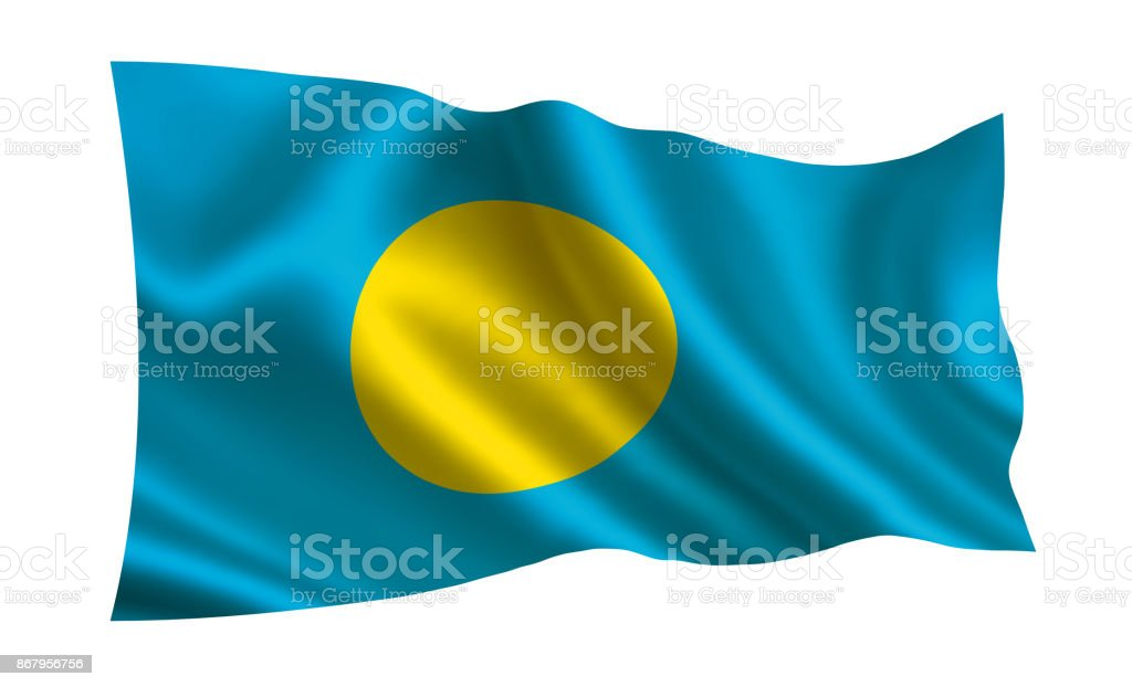 Palau flag. A series of 'Flags of the world.'  ( The country - Palau flag ) stock photo