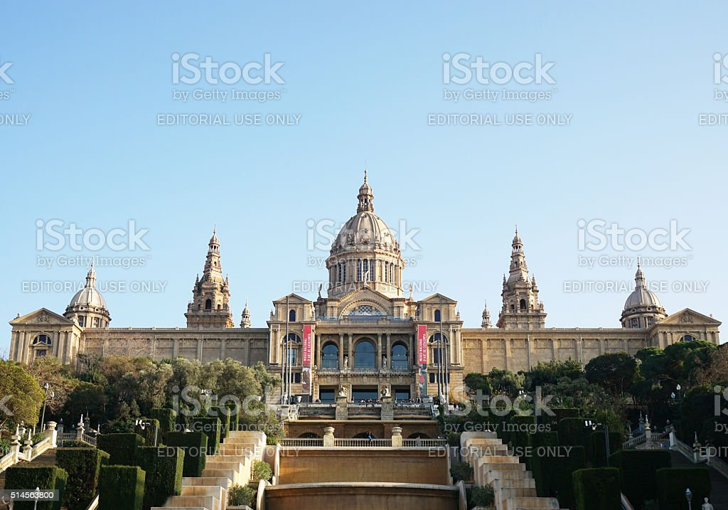 Palau Nacional with MNAC museum in Barcelona stock photo