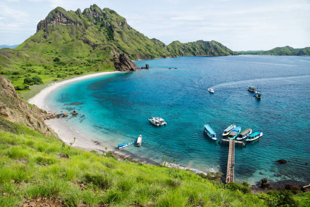 Palau Padar bay in Komodo National Park, Flores, Indonesia stock photo
