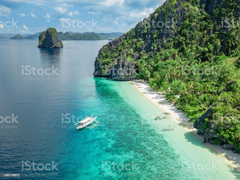 Palawan El Nido Entalula Island Beach Philippines Stock