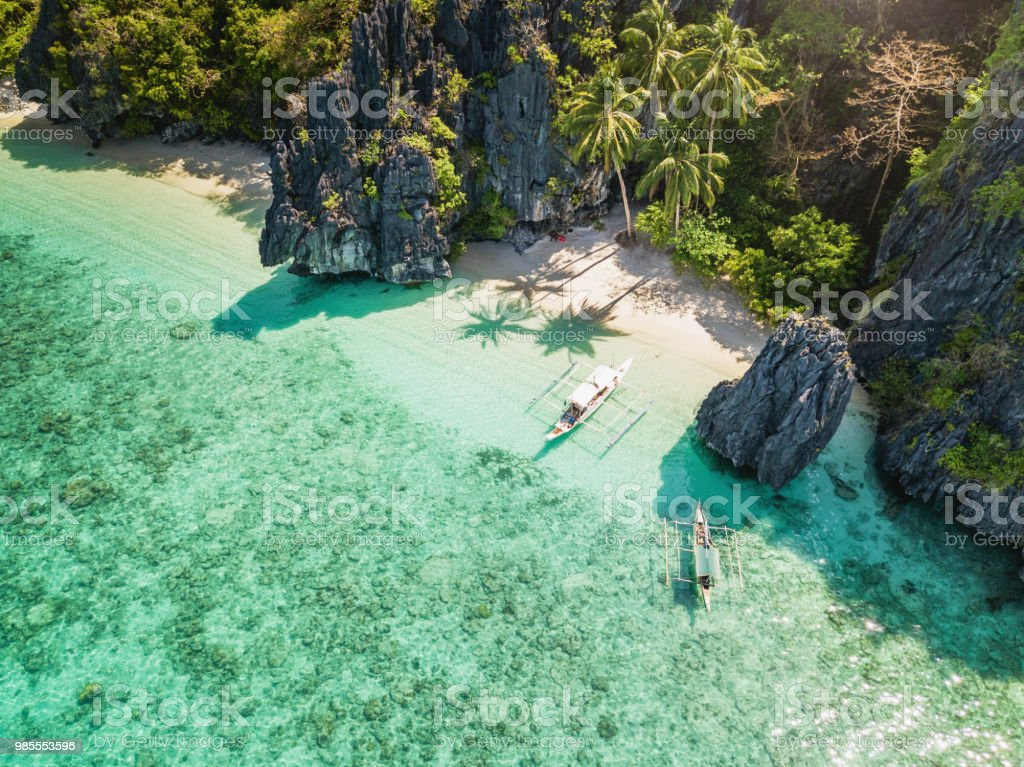 Palawan El Nido Entalula Island Beach Philippines stock photo