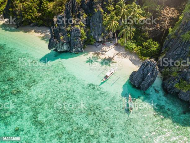 Palawan El Nido Entalula Island Beach Philippines Stock Photo - Download Image Now