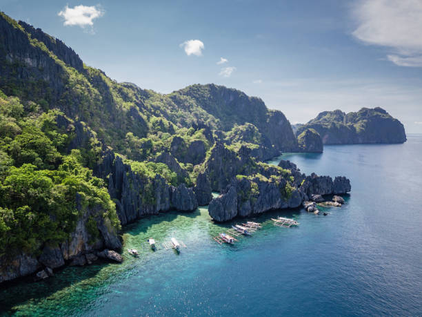 Palawan Hidden Beach Matinloc Island Philippines Aerial Drone View stock photo
