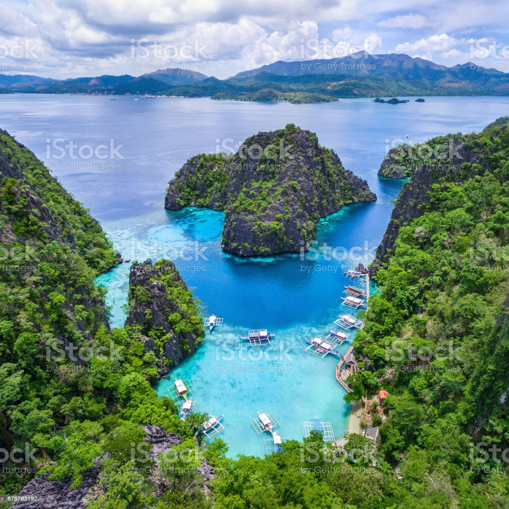 Palawan Philippines Aerial View Of Kayangan Lake In Coron