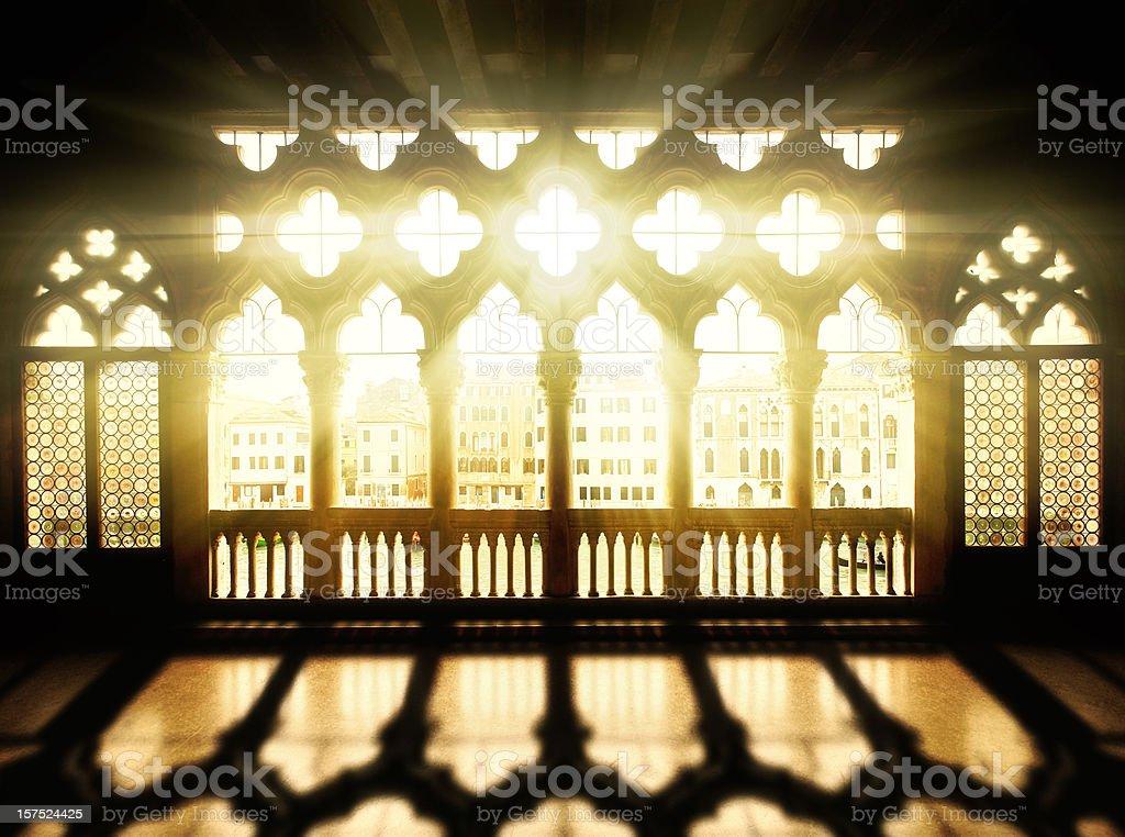 Palazzo balcony at sunrise royalty-free stock photo