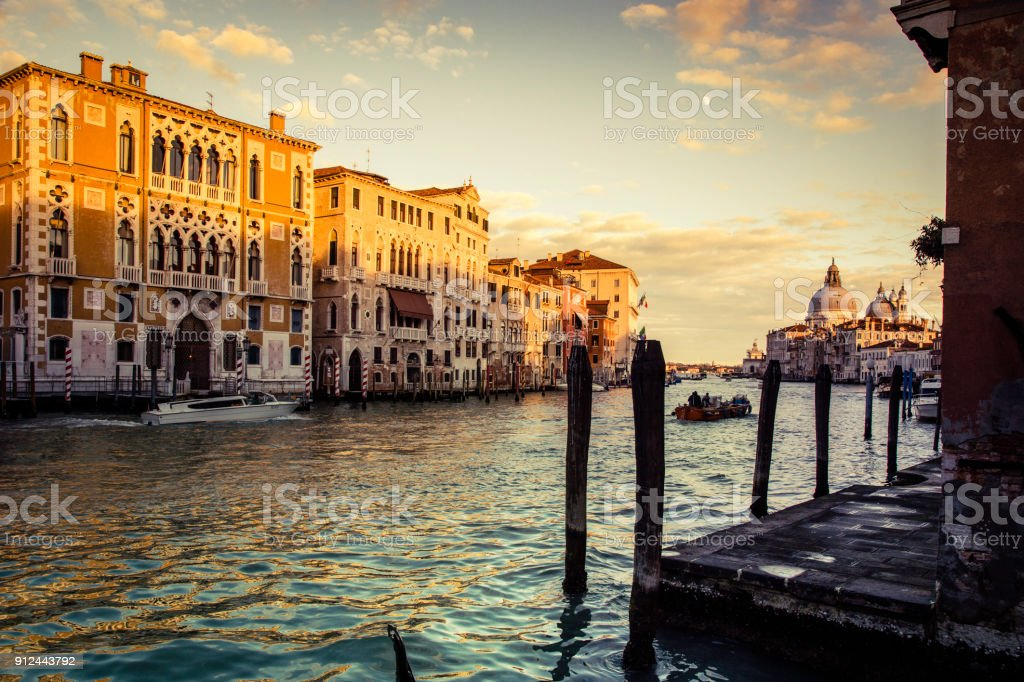 Palazzo Barbaro and Grand Canal at sunset, Venice, Italy stock photo