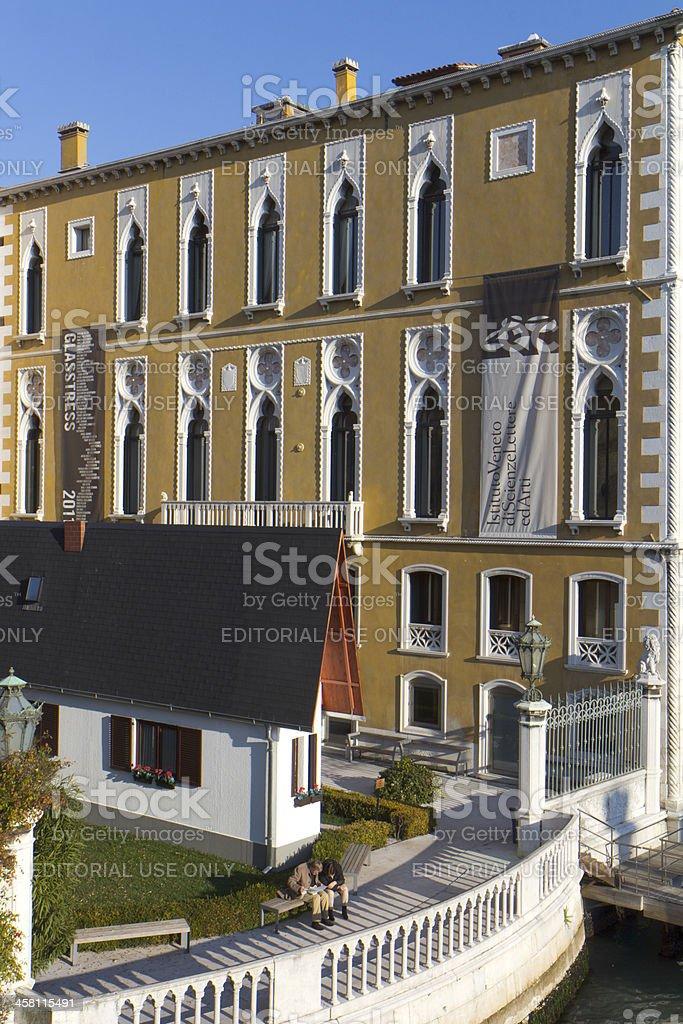 Palazzo Cavalli-Franchetti and its garden. stock photo