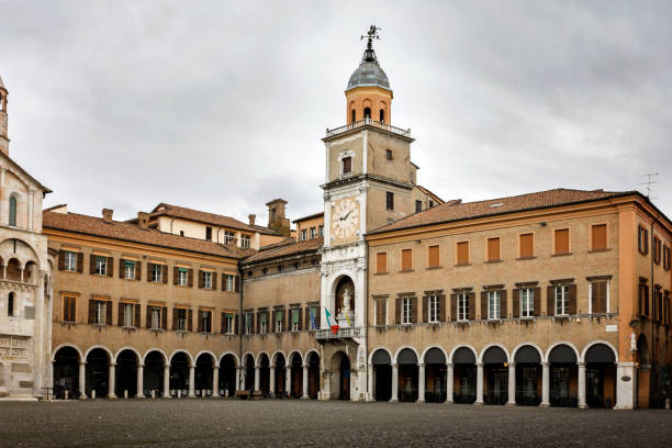 Palazzo Communale, Piazza Grande, Modena, Italy Modena, Italy - March 5, 2017:e The ornate facade of the Palazzo Communal on the UNESCO World  Piazza Grande, Modena, Italy. piazza grande stock pictures, royalty-free photos & images