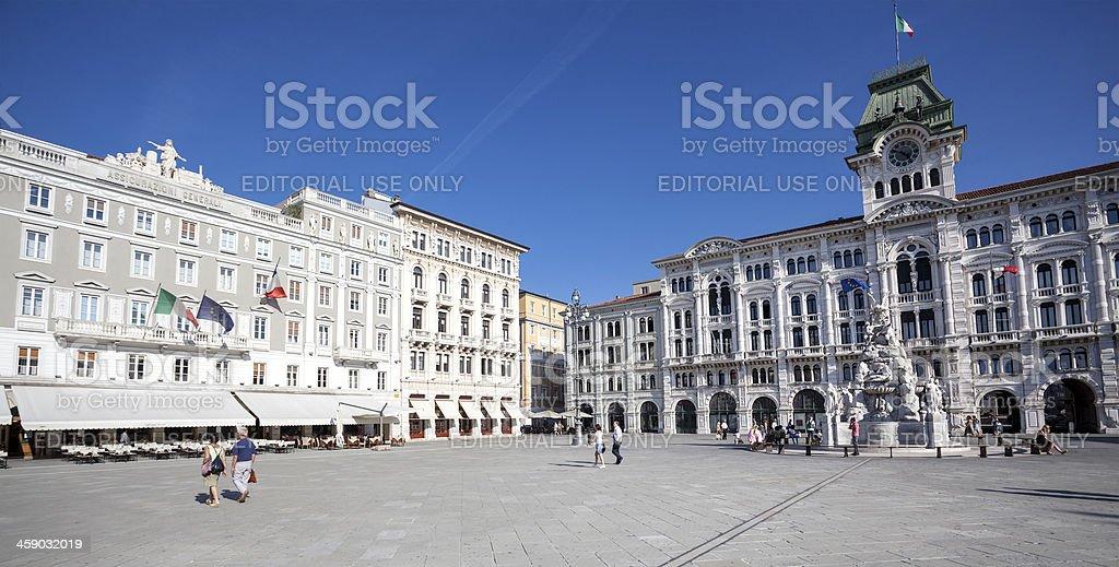 Palazzo Comunale and Casa Stratti - Trieste, Italy stock photo