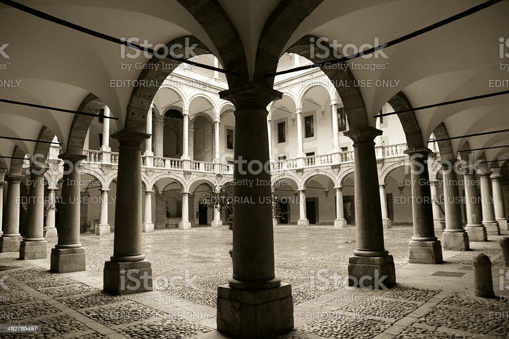 Palazzo dei Normanni inner courtyard Palermo stock photo