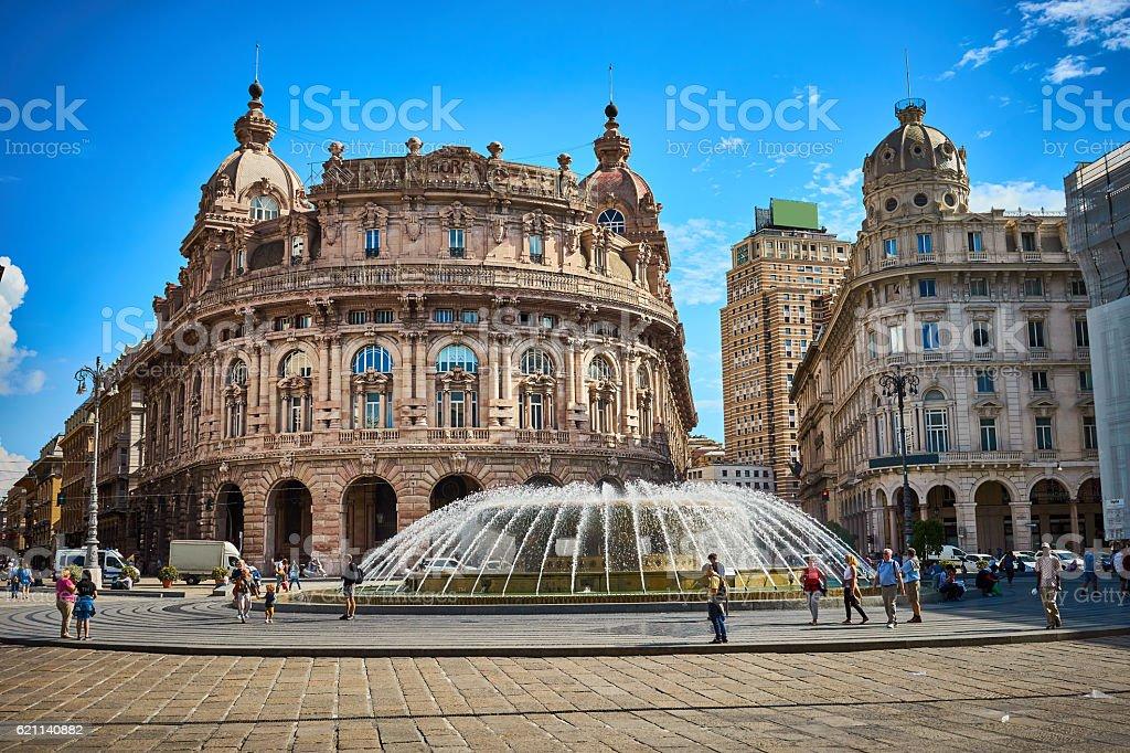 'Palazzo della Borsa', great fountain at central Place in Genoa stock photo