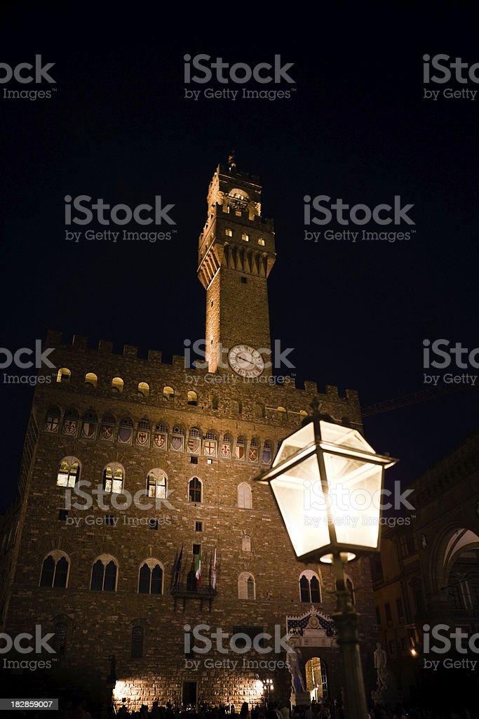 Palazzo della Signoria by night royalty-free stock photo
