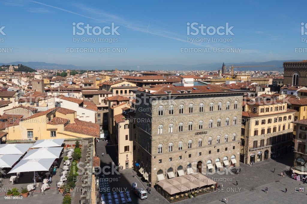 Palazzo delle Assicurazioni Generali in het Piazza della Signoria in Florence, Toscane, Italië. - Royalty-free Architectuur Stockfoto
