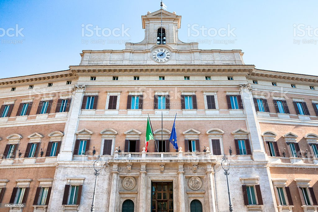 Palazzo Montecitorio in Rome, Italy stock photo