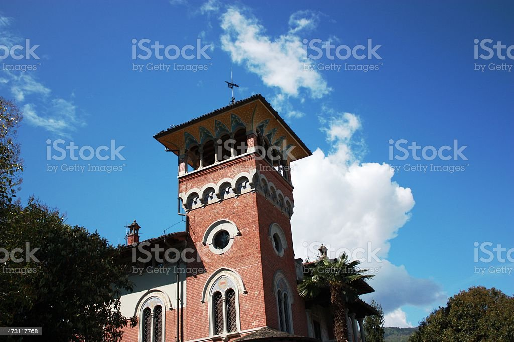 Palazzo old and beautiful, Italy under blue sky stock photo