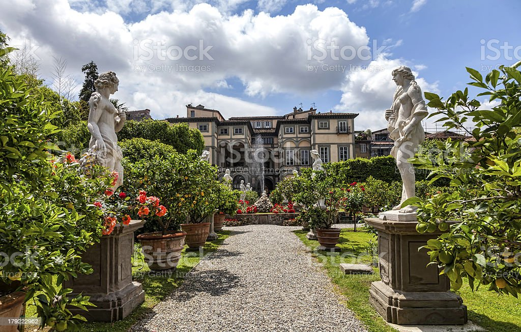 Palazzo Pfanner gardens in Lucca stock photo