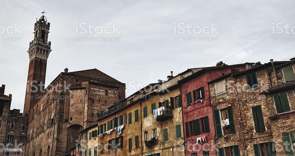 Palazzo Publico and Piazza del Campo in Siena, Italy stock photo