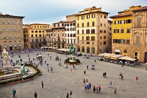 Palazzo Vecchio and Piazza della Signoria of Florence Italy