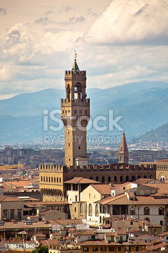 Palazzo Vecchio in the skyline of the City of Florence. A popular tourist attraction in the city.