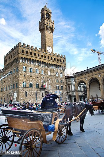 The famed Palazzo Vecchio on the town square of Piazza della Signoria. A historic public building of the city of Florence. Currently an art museum with some of the most important Florentine and renaissance artwork. A popular tourists destination of the city of Florence.