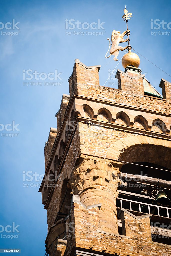 Palazzo Vecchio tower detail royalty-free stock photo