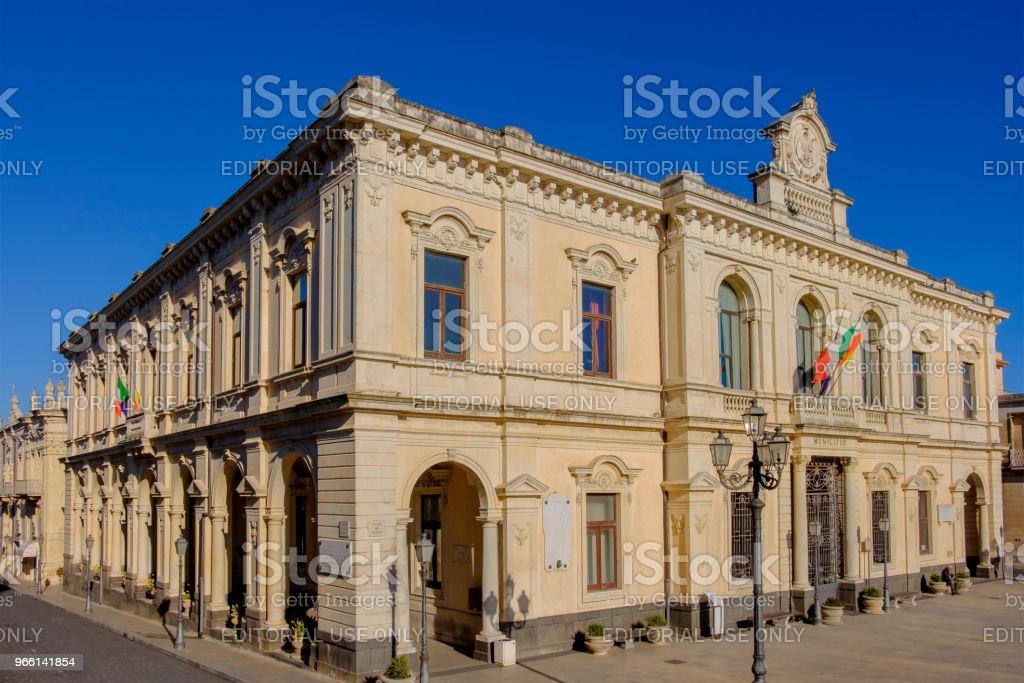 Palazzolo Acreide, Town Hall (Sicily, Italy) - Foto stock royalty-free di Ambientazione esterna