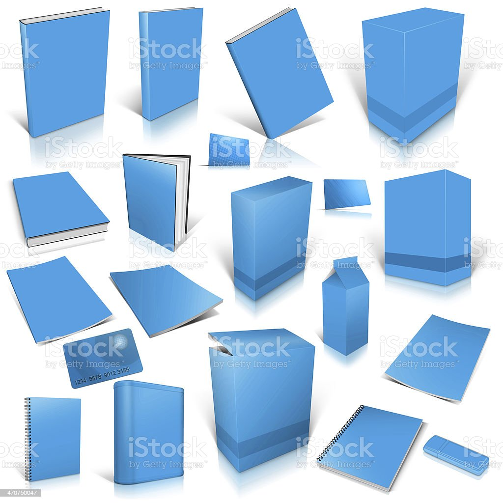 Pale blue 3d blank cover collection royalty-free stock photo