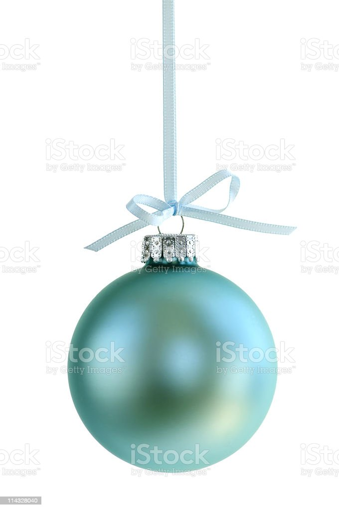 A pale blue Christmas ornament royalty-free stock photo