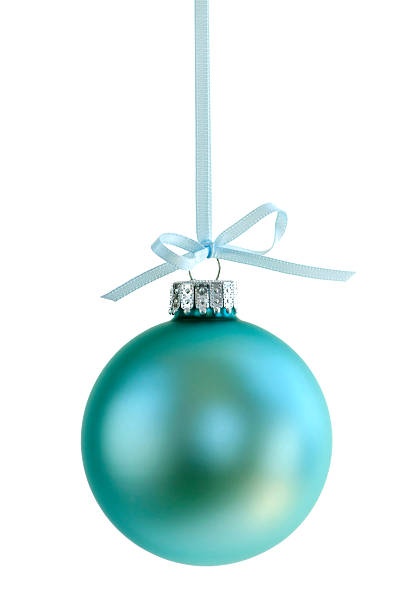 a pale blue christmas ornament - turquoise colored stock photos and pictures