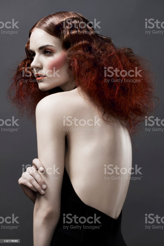 Avant Garde Beauty Portrait, Fashion Model in Hairstyle and Makeup stock photo