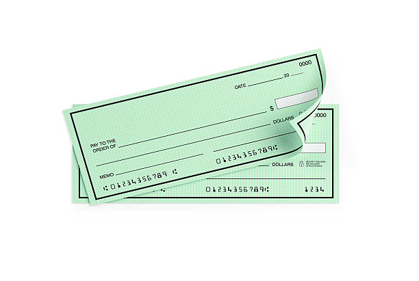 pale green personal checks with altered numbers isolated on white - cheque bancaire vierge photos et images de collection