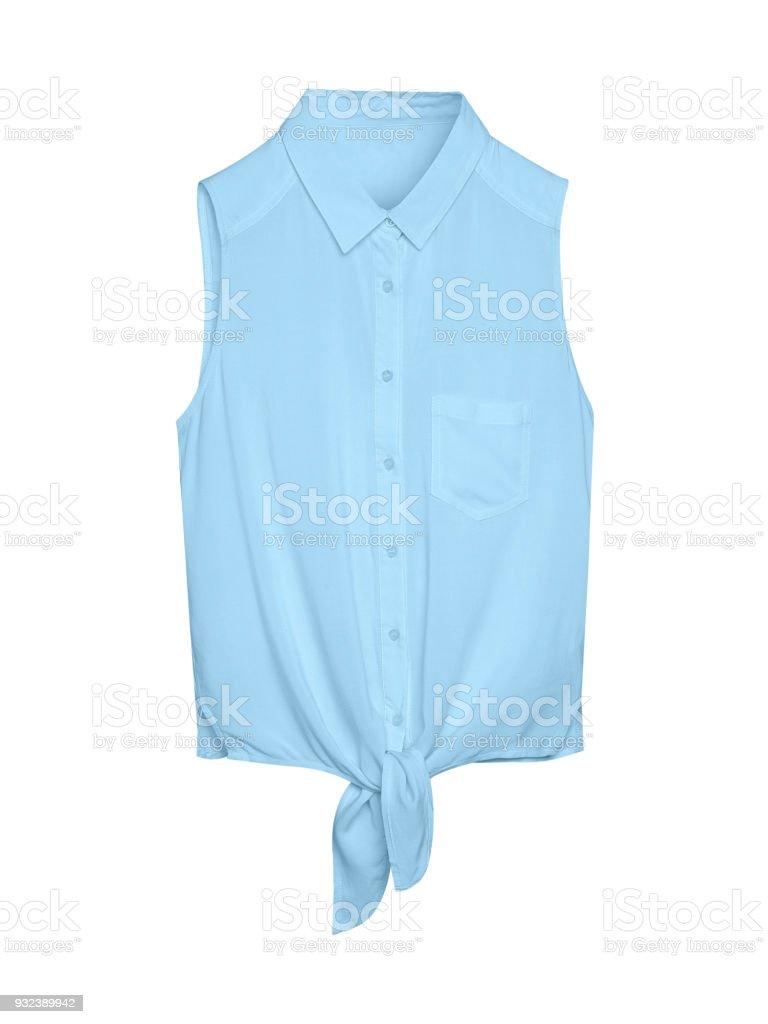 Blass blau elegant sommerlich leichte ärmellose Frau Bluse Hemd mit Kragen, Knöpfe und Krawatte isoliert weiß – Foto