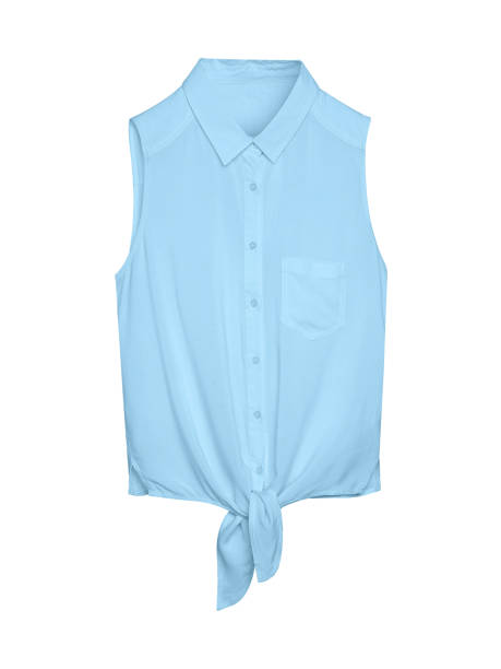 Pale light blue elegant summer sleeveless woman blouse shirt with a collar, buttons and tie isolated white stock photo
