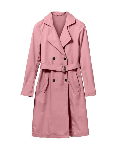 Pale light pink elegant woman autumn coat isolated white - foto stock