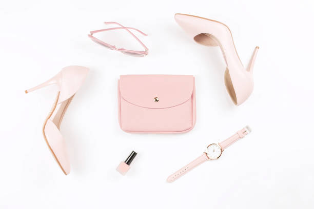 pale pink female shoes and fashion accessories on white background. fashion blogger concept flat lay. - acessório imagens e fotografias de stock