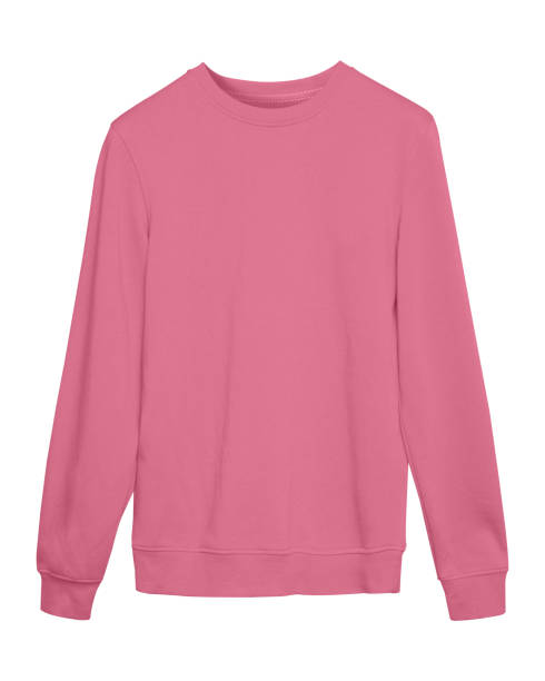 blass rosa pastell sport leer sweatshirt isoliert auf weiss - fleecepullover stock-fotos und bilder