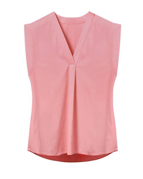 Pale pink rose elegant woman summer sleeveless office blouse isolated on white stock photo