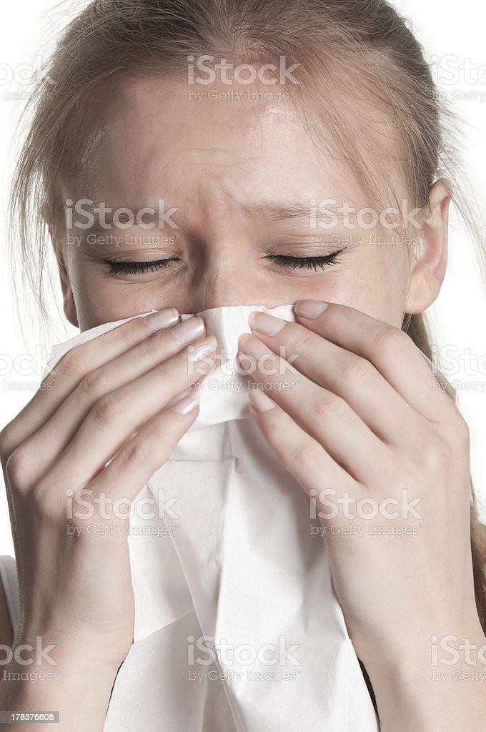 Pale Woman Sneezing royalty-free stock photo