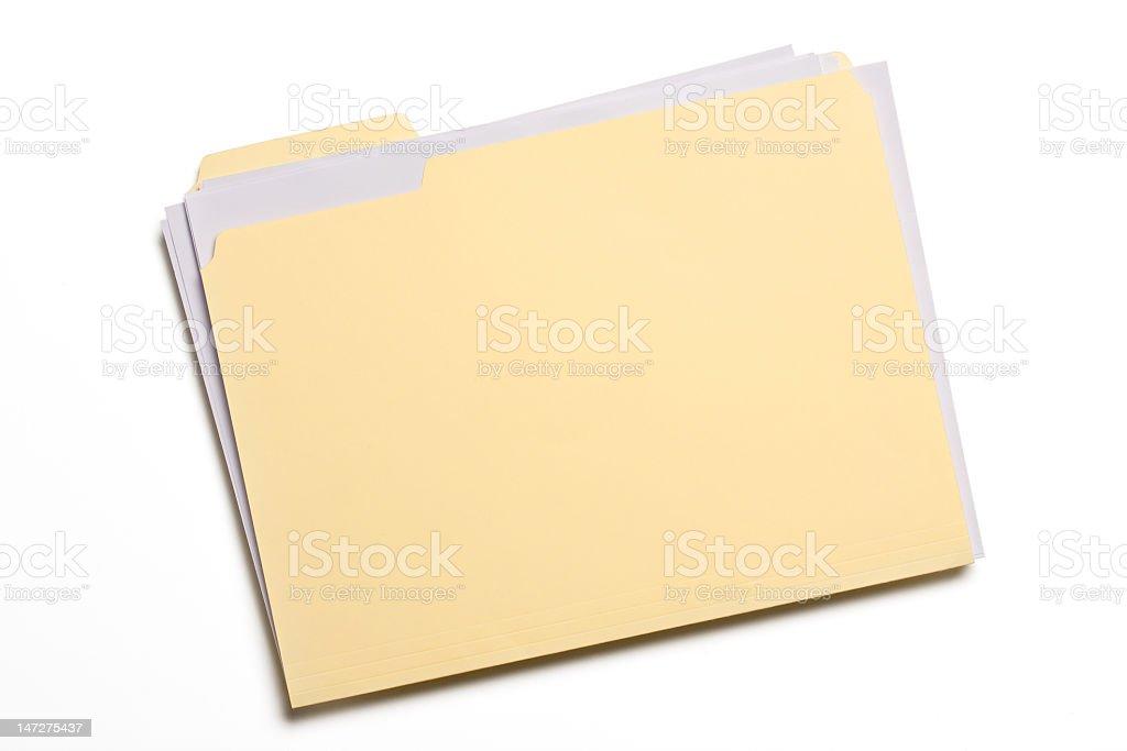 Pale yellow file folder on white background royalty-free stock photo