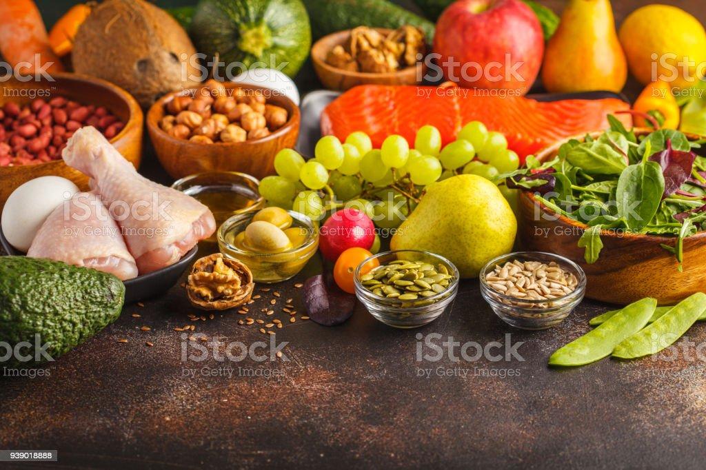 Paleo Diet Concept High Protein Food Copy Space Dark Background Fresh Raw