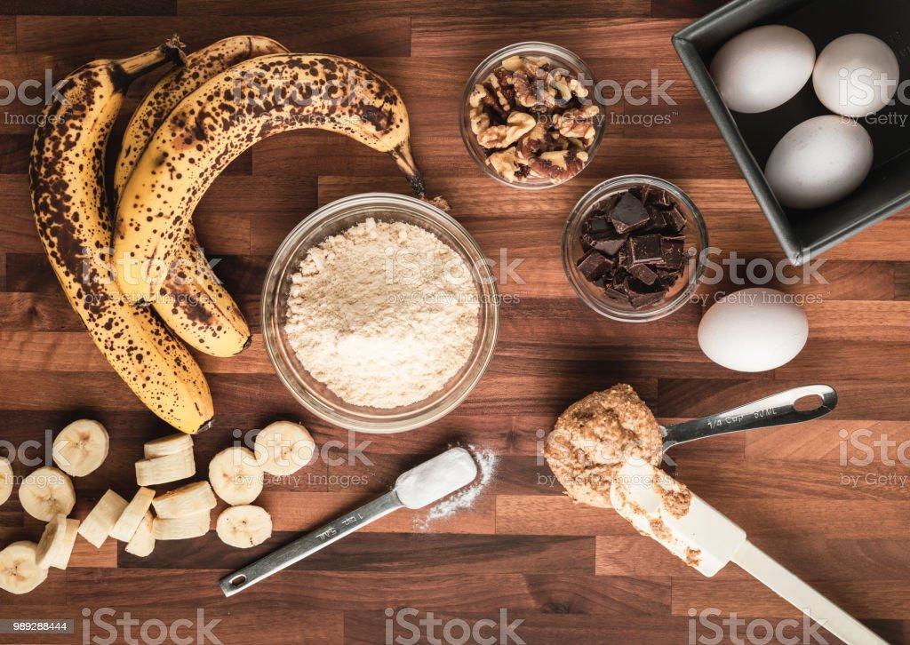 Paleo grain free and sugar free banana bread ingredients stock photo