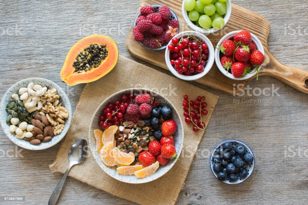 Paleo style breakfast, grain free granola stock photo