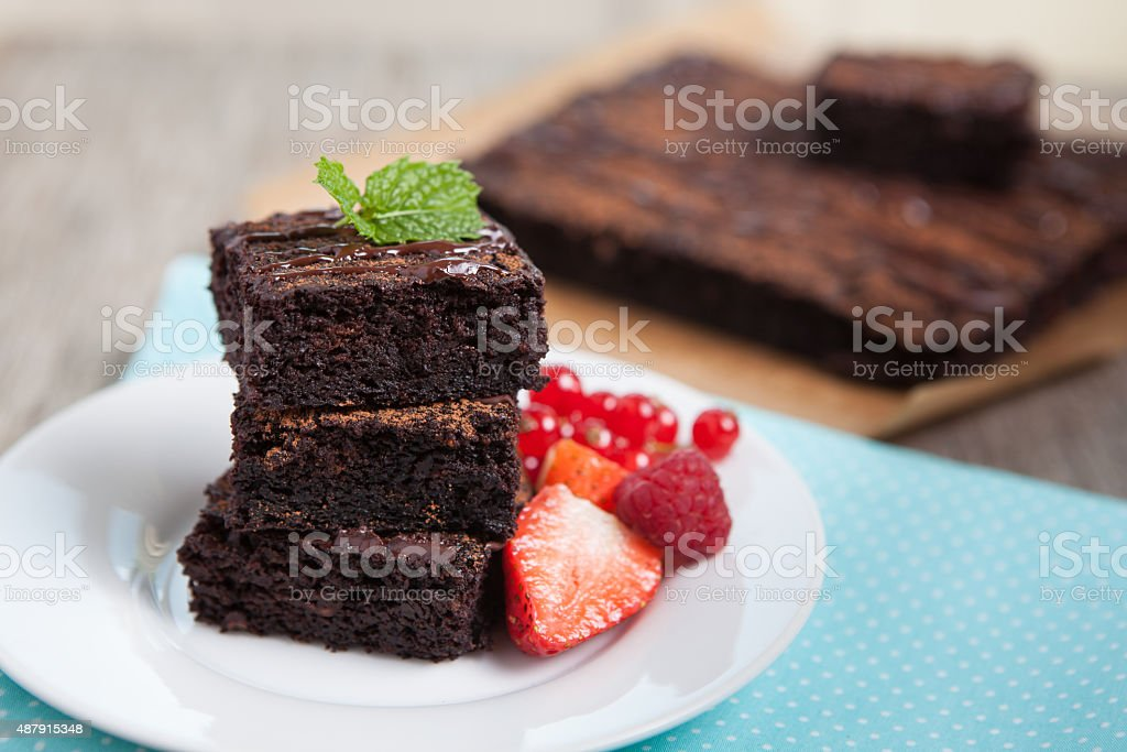 Paleo style brownies on a wooden table, selective focus stock photo