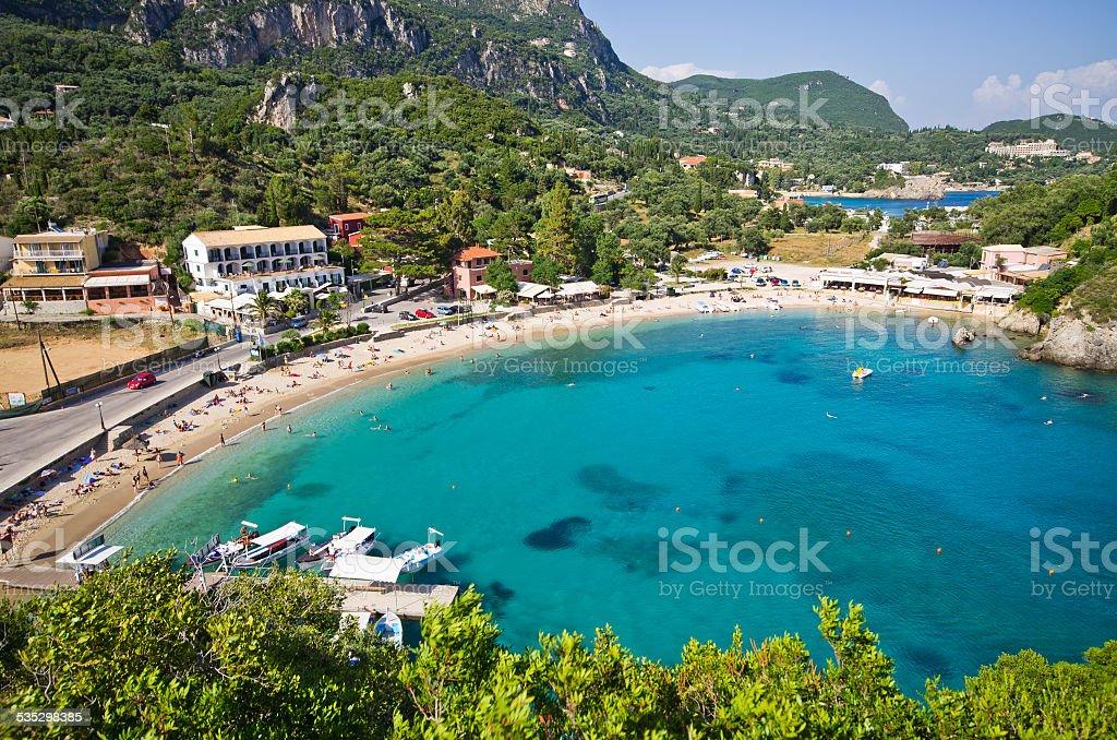 Paleokastritsa bay on Corfu, Greece stock photo