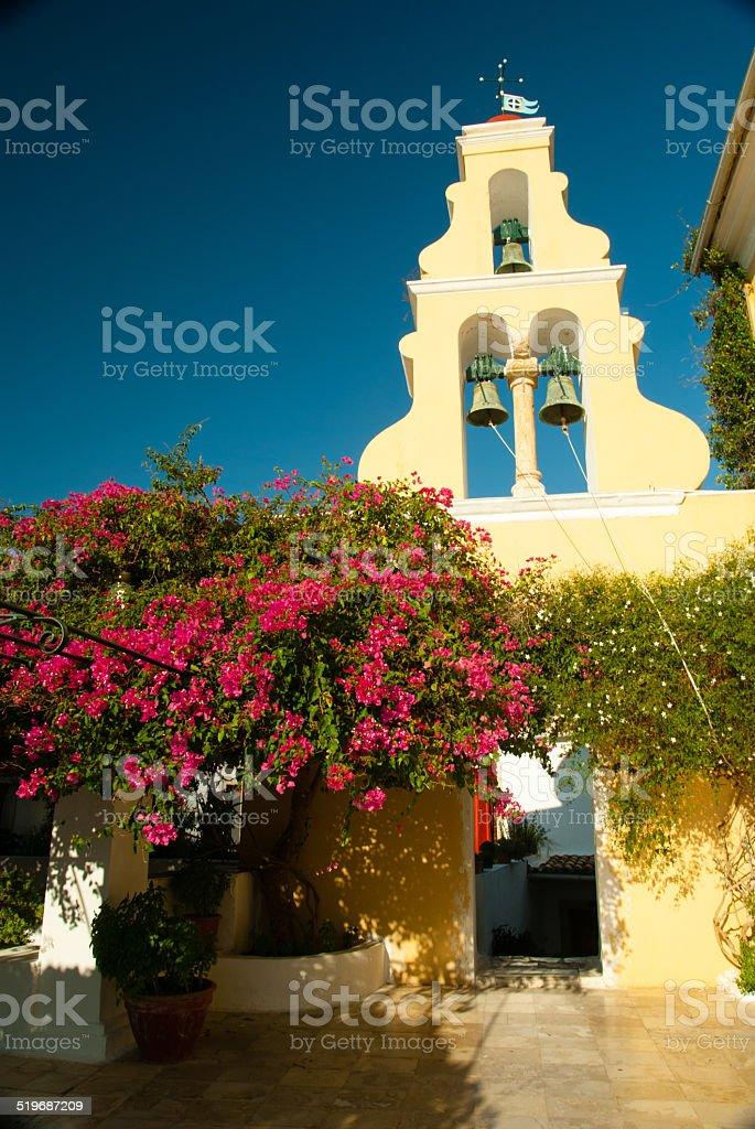 Paleokastritsa Monastery, Corfu, Greece stock photo