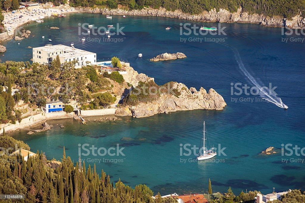 Paleokastritsa on the island of Corfu stock photo