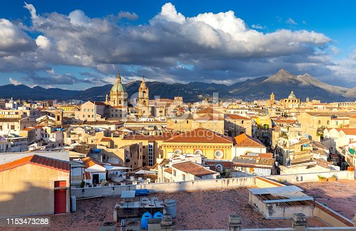 Aerial view of the old historical part of the city. Palermo. Italy. Sicily.