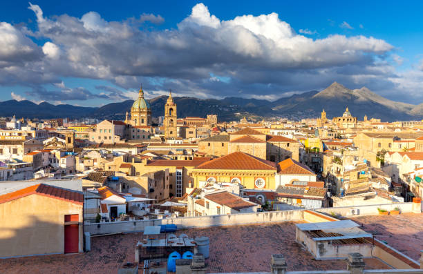 palermo. aerial view of the city early morning. - palermo città foto e immagini stock