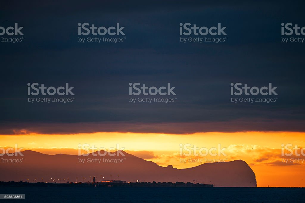 Palermo airport in sunset light, Sicily. stock photo